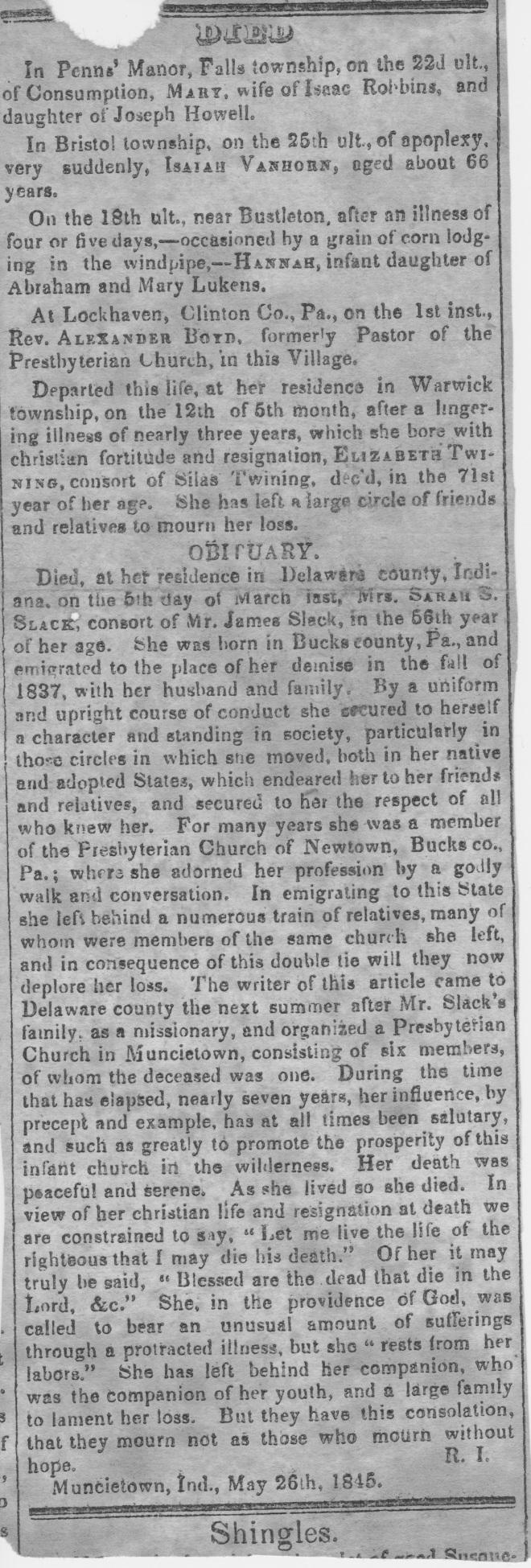 Sarah S. Slack Obituary