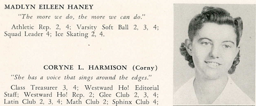 1943 Madlyn Eileen Haney HS yearbook