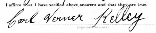 19170605 Carl Verner Kelley signature