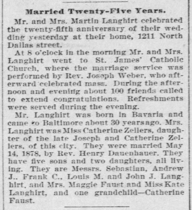 19030515 Langhirt Zellers wedding anniversary The_Baltimore_Sun_Fri__May_15__1903_