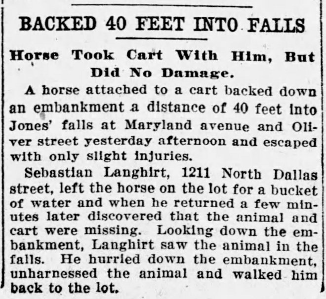 19130202 Sebastian Langhirt's horse in Jones Falls The_Baltimore_Sun_Wed__Apr_2__1913_